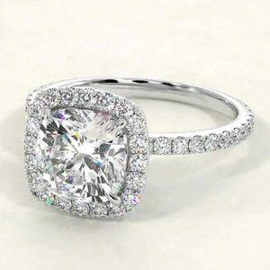 Engagement Ring Halo Style White Cushion Diamond